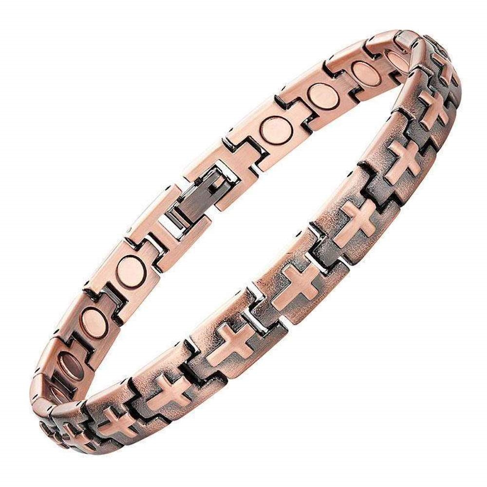 Magnetic Copper Cross Bracelet