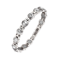 Womens Magnetic Therapy Bracelet Silver with Clear Swarovski